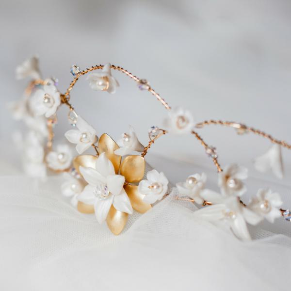 rose gold bridal hair crown rachel sokhal Swarovski Crystals Pearls