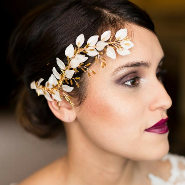 Rachel Sokhal Bridal Hair Comb Leaf Design gold and white